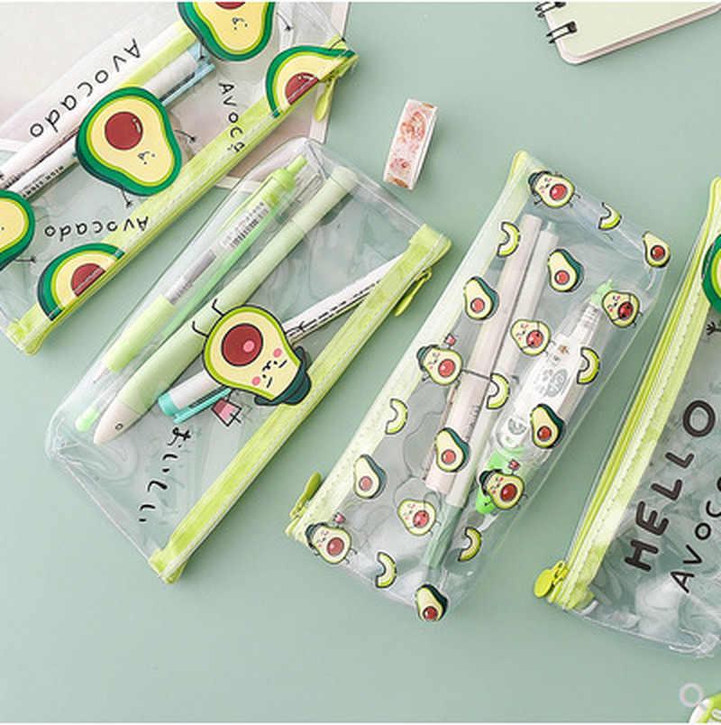 1 Pc piórnik Avocado piórnik szkolny piórnik przezroczysty ołówek torba szkolne papiernicze