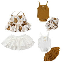 TikTok Hot 2Pcs Girls Clotehs Set Kids Baby Girl Clothes Sleeveless Vest Tops Dress Flower Shorts Pants Ribbed Outfit 1-5T baby child girls kids clothing bow knot flower sleeveless vest t shirt tops ves shorts pants outfit girl clothes set 2pcs infant page 4 page 5
