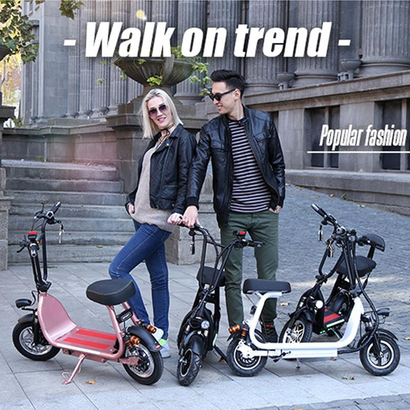 Купить с кэшбэком 10 Inch Two Wheels Electric Scooters 400W 48V Electric Bicycles Carbon Steel White/Red/Black Electric Scooter With Two Seat