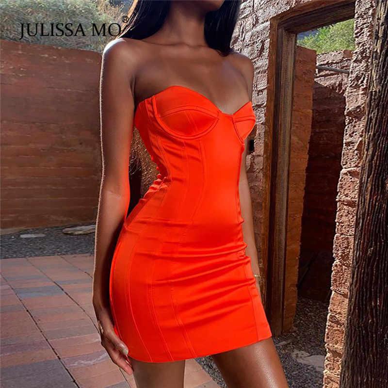 JULISSA MO красное летнее платье без бретелек с открытой спиной женское сексуальное платье с открытыми плечами облегающее вечернее платье женские вечерние платья без рукавов Vestidos
