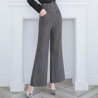 Autumn Winter Woolen Wide Leg Pants Women Black Bottoms Female Buttons Loose Ankle Length Plaid Trousers Ladies High Waist Pants