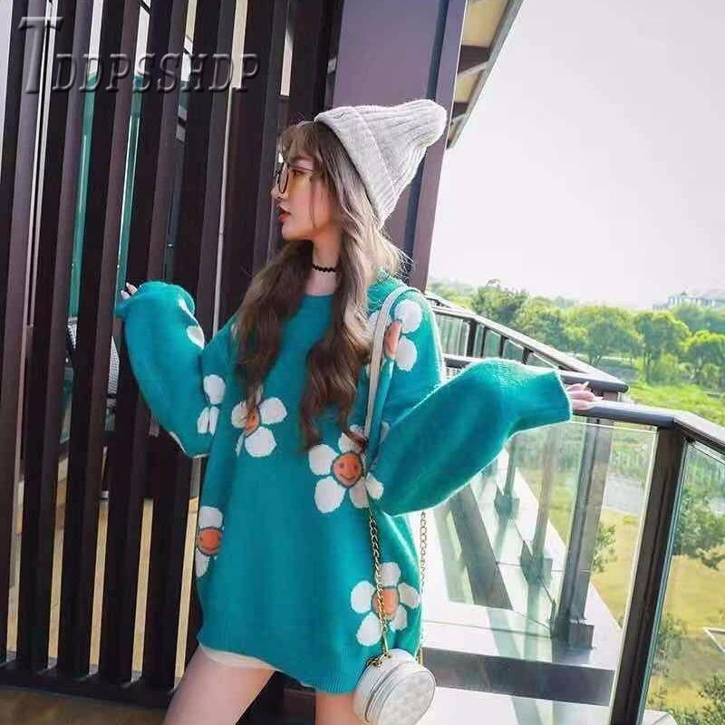 2019 Flower Knitting Women Sweaters Korean Lazy Style Winter Casual Female Sweaters