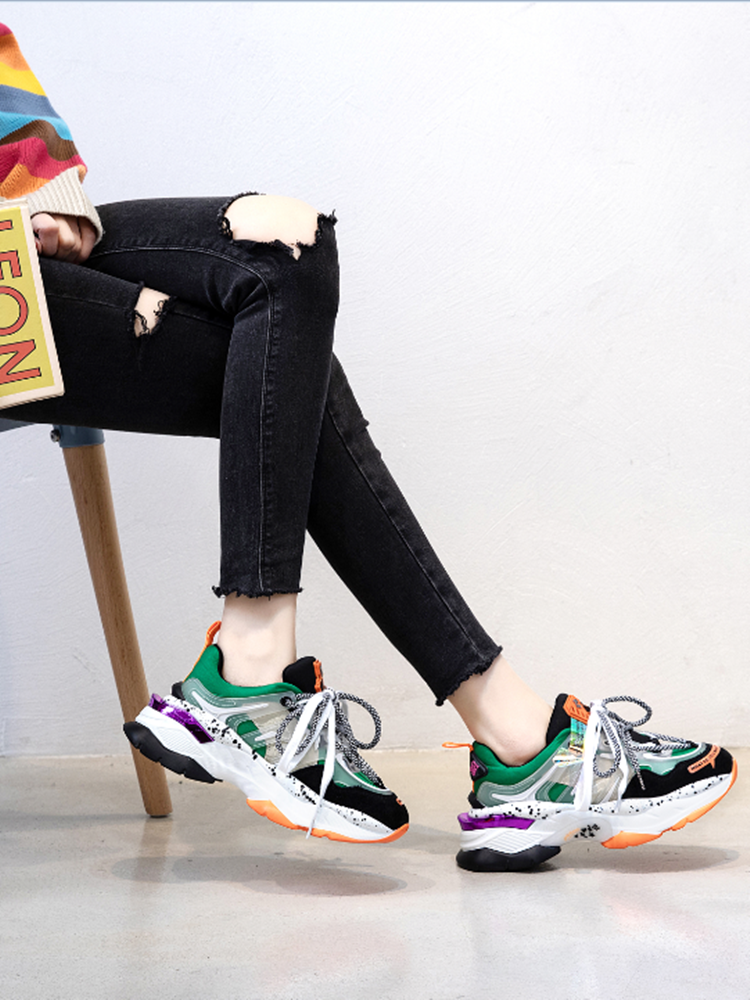 JXANG Casual-Shoes Platform Chunky Sneakers Lace-Up Pink Trainers Female Designers Fashion