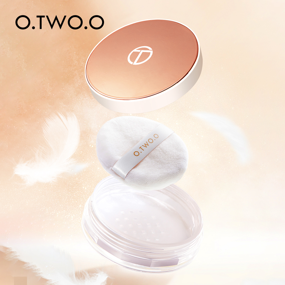 O.TWO.O Loose Powder Makeup Waterproof Setting Powder Oil-free Face Powder Natural Translucent Finishing Powder Cosmetic