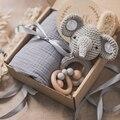 4 teile/satz Baby Bad Spielzeug Set Einfarbig Baumwolle Decke Häkeln Elefant Rassel Spielzeug Häkeln Baby Bad Geschenk Produkte Für kinder