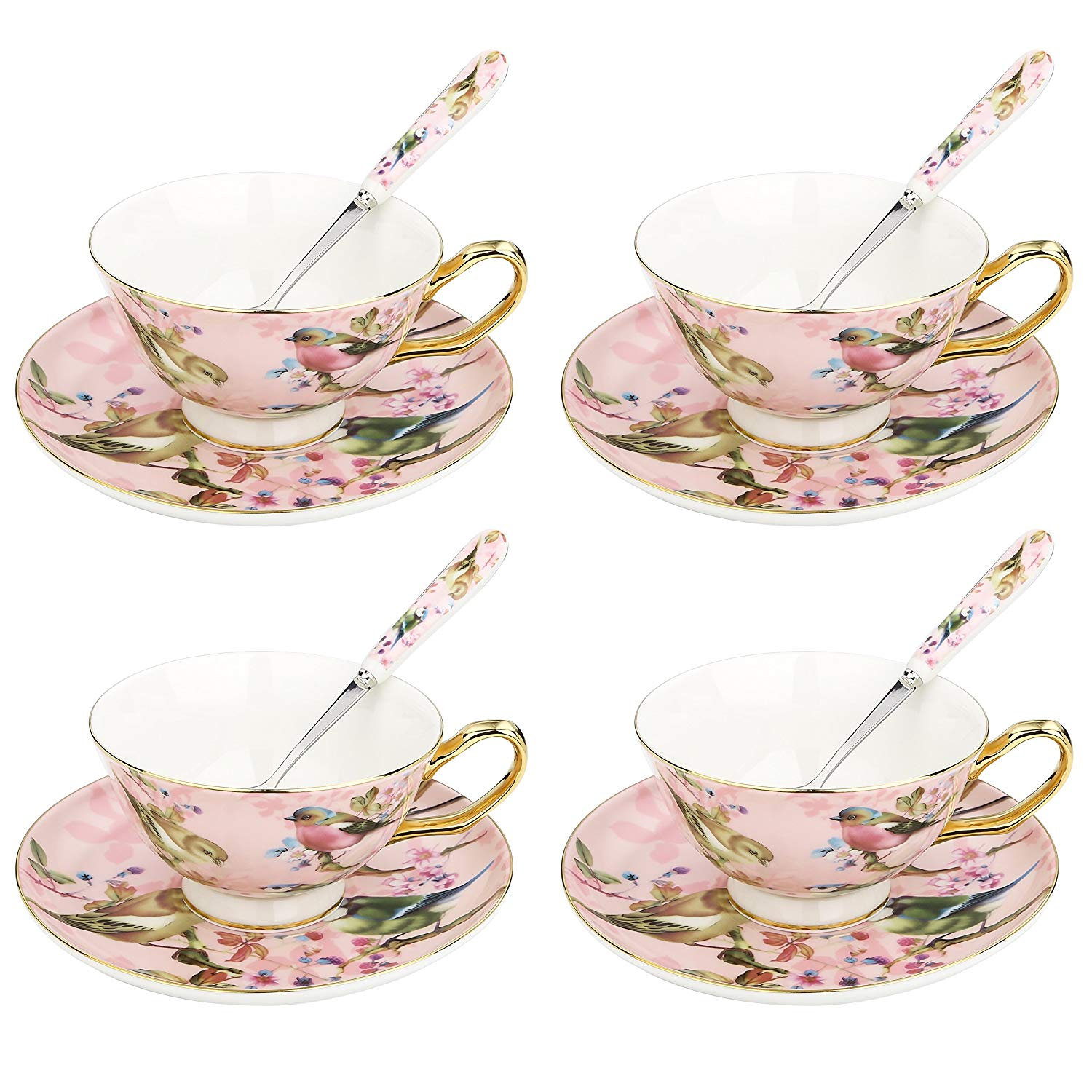 ARTVIGOR Coffee Cup Serving Set New Bone China Gold Rimmed 6.8oz / 200ml Coffee Cup&Saucer Gift Sets With Spoon For 4person