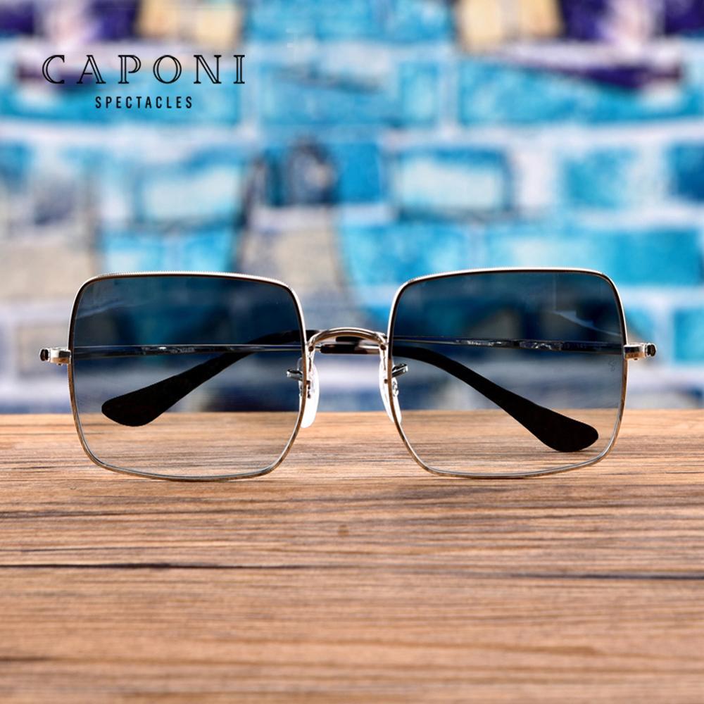 CAPONI Polarisierte Quadrat Sonnenbrille Frauen 2020 Neue Marke Design Herren Sonnenbrille Metall Rahmen Bunte Objektiv Shades UV400 CP1971