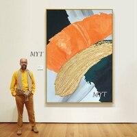 Pintura al óleo abstracta 3D dorada y gruesa, lienzo hecho a mano, pinturas doradas, cuadros de pared, obra de arte de pared artística para decoración de comedor