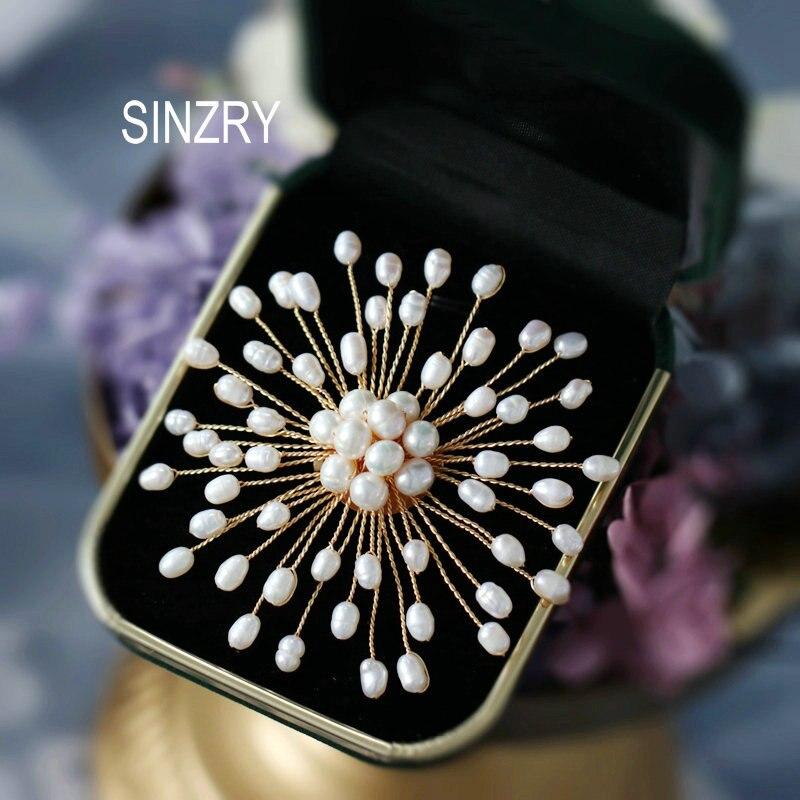 Floco de Neve Acessório para o Sexo Sinzry Hotsale Artesanal Pérola Natural Flor Elegante Broches Pino Moda Jóias Feminino