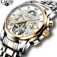 New LIGE Mens Watches Top Luxury Brand Fashion Tourbillon Automatic Mechanical Watch Men Waterproof Skeleton Clock Montre Homme
