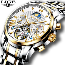 New  LIGE Mens Watches Top Luxury Brand Fashion Tourbillon Automatic Mechanical Watch Men Waterproof Skeleton Clock Montre Homme mens watches lige top brand luxury men s fashion business watch men s tourbillon mechanical watches men waterproof gift clock