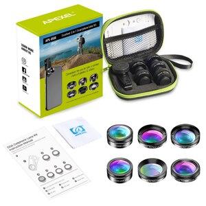 Image 5 - Apexel novo kit de lente da câmera do telefone 6 em 1 lente olho de peixe 205 graus grande angular 25x lente macro cpl/estrela nd32 filtro para smartphones