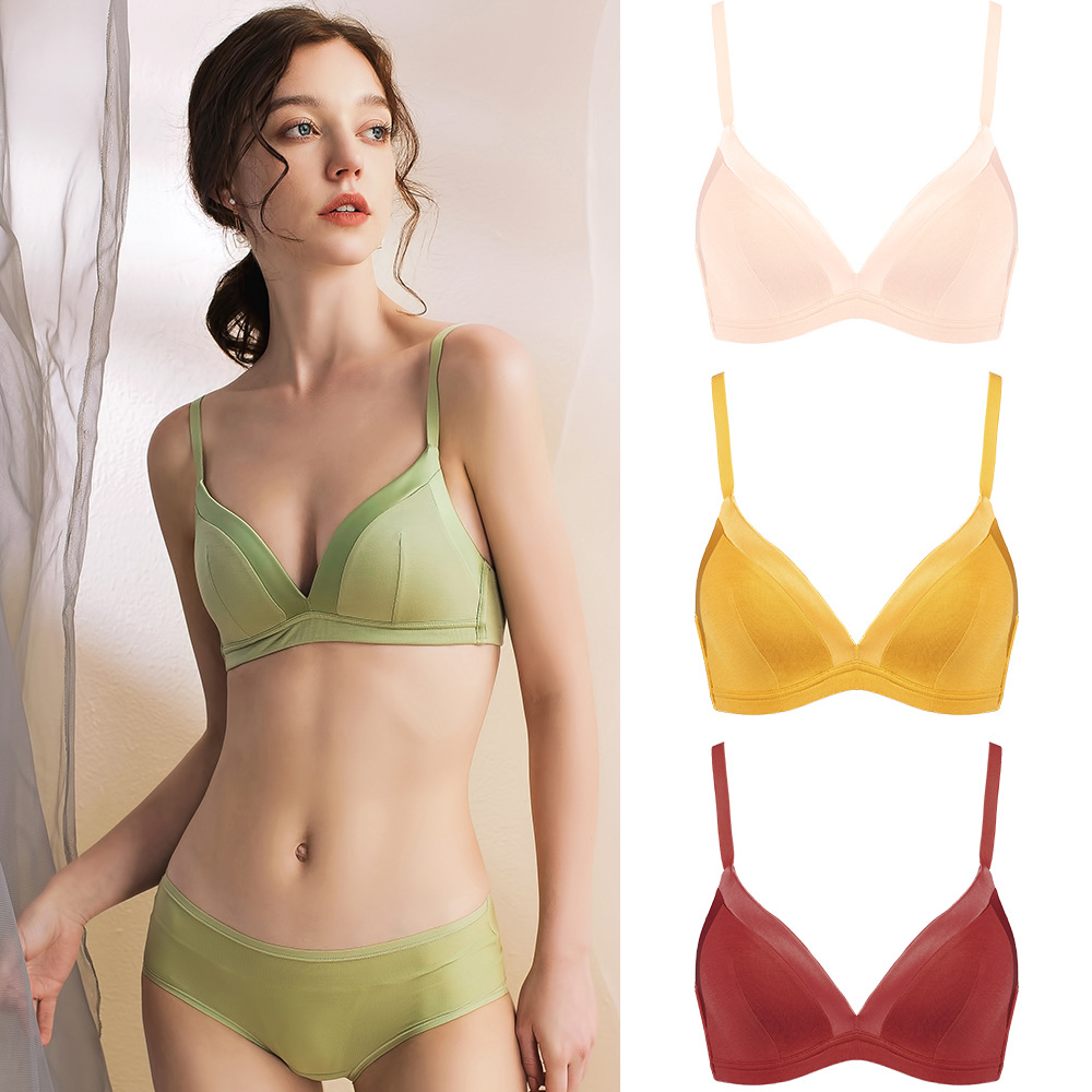 New Arrival Women Japanese Style Small Fresh Simple Candy-colored Fashion Glossy Gathering Thin Pure Seamless Bras Underwear