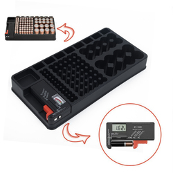 Battery Storage Organizer Holder w/Tester Battery Caddy Rack Case Box Holders Including Battery Checker For AAA AA C D 9V