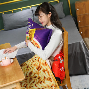 Image 3 - Kawaii Blanket Simulation Instant Noodles Plush Pillow with Blanket Stuffed Beef Fried Noodles Gifts Plush Pillow Food Plush Toy