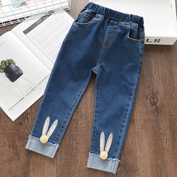 Menoea 2019 dos desenhos animados do gato meninas calças de brim longas no joelho calças de lápis das crianças leggings azul claro 3-7y pantalon fillette