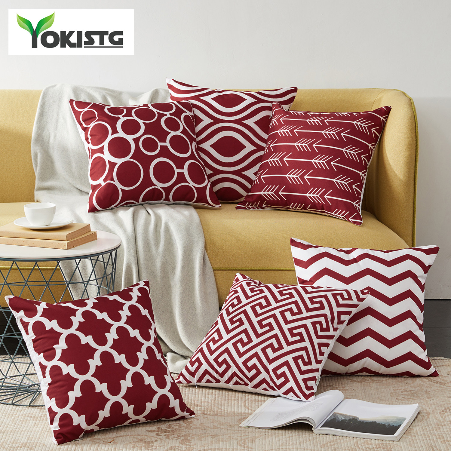 Nordic Style Geometric Decorative Cushion Covers Cotton Linen Throw Pillow Cover For Sofa Couch Chair Seat Bed Burgundy Color Cushion Cover Throw Pillow Coversdecorative Cushion Covers Aliexpress