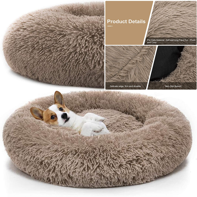 Pet Dog Bed Comfortable Donut Cuddler Round Dog Kennel Ultra Soft   1
