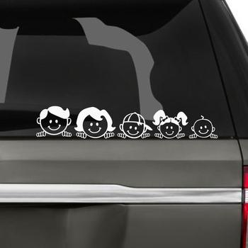 Happy Family Vinyl Car Styling Sticker Letter Personality Durability Windshield Decal Auto Accessories Black and White 5x25cm image