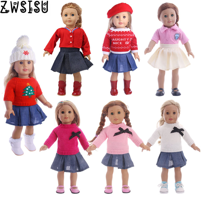 Doll Clothes Sweater Dress 2Pcs/Sets Sweater+Jeans Skirt For 18 Inch American&43 Cm Baby New Born Doll Our Generation Girl`s Toy