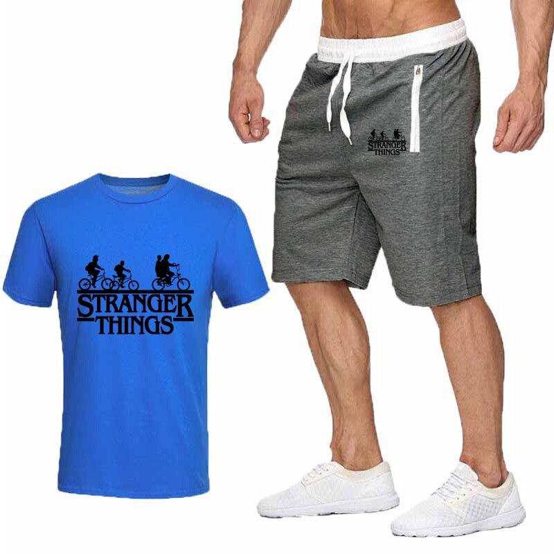 Hot Men's Summer Clothes T-shirt + Beach Pants Suit Casual White Printing STRANGER THINGS Dark Gray Beach Pants Cotton T-shirt