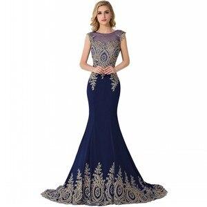 Image 4 - Элегантное Длинное Вечернее Платье Русалка 2021, женское официальное платье с золотистой аппликацией для девушек, платье в пол
