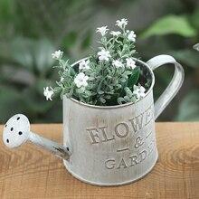 Cubo florero decoración de jardín Vintage Metal artesanía riego arreglo de flores decoración del hogar plantas carnosas maceta de flores