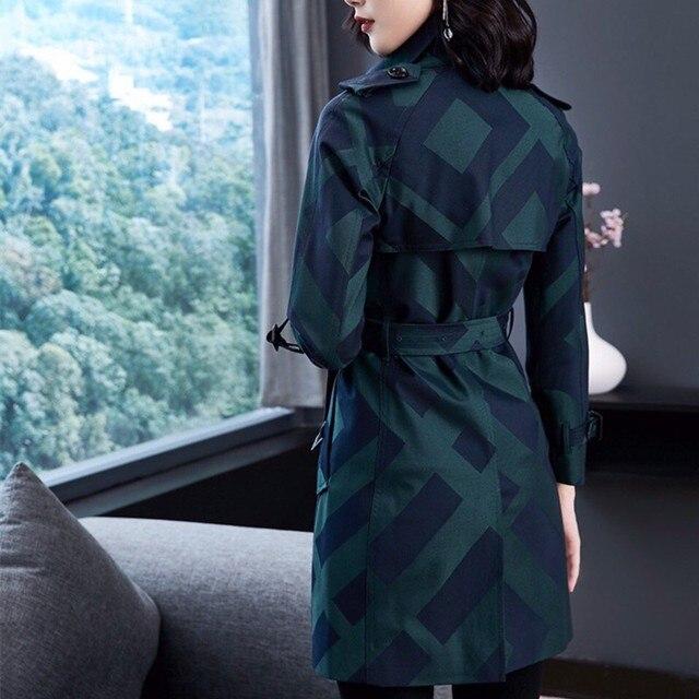 Фото женский тренч весна осень пальто средней длины клетчатая двубортная цена
