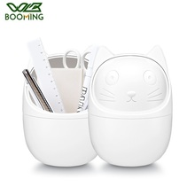 WBBOOMING Mini Garbage Basket Plastic Storage Box Desktop Trash Can Pen Holder Remote Control Container Cartoon Cat Waste Bin