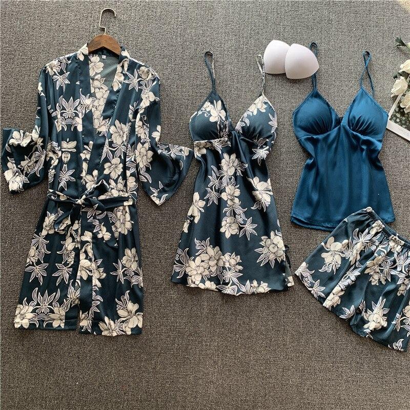 QWEEK Satin Pijama Set 4 Pieces Sexy Pajama Floral Sleepwear Women Lounge Wear Nightie Night Wear Suits  With Chest Pad 2020