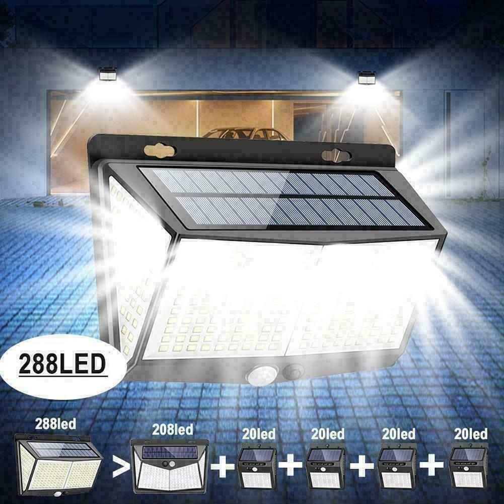 288 lâmpadas de parede de luz solar do diodo emissor de luz para a luz sem fio exterior do sensor de movimento da decoração do jardim com ângulo largo de 270 °, modo 3, impermeável