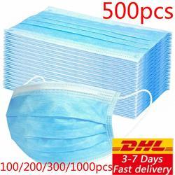 Dhl 200/300/500/800/1000pcs Einweg Schutz Maske 3 Schichten Staubdicht Gesichts Schutzhülle masken anti-virus Masken