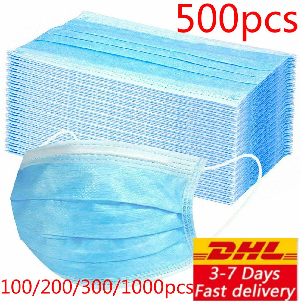 Dhl 200/300/500/800/1000pcs Disposable Protective Mask 3 Layers Dustproof Facial Protective Cover Masks Anti-virus Masks