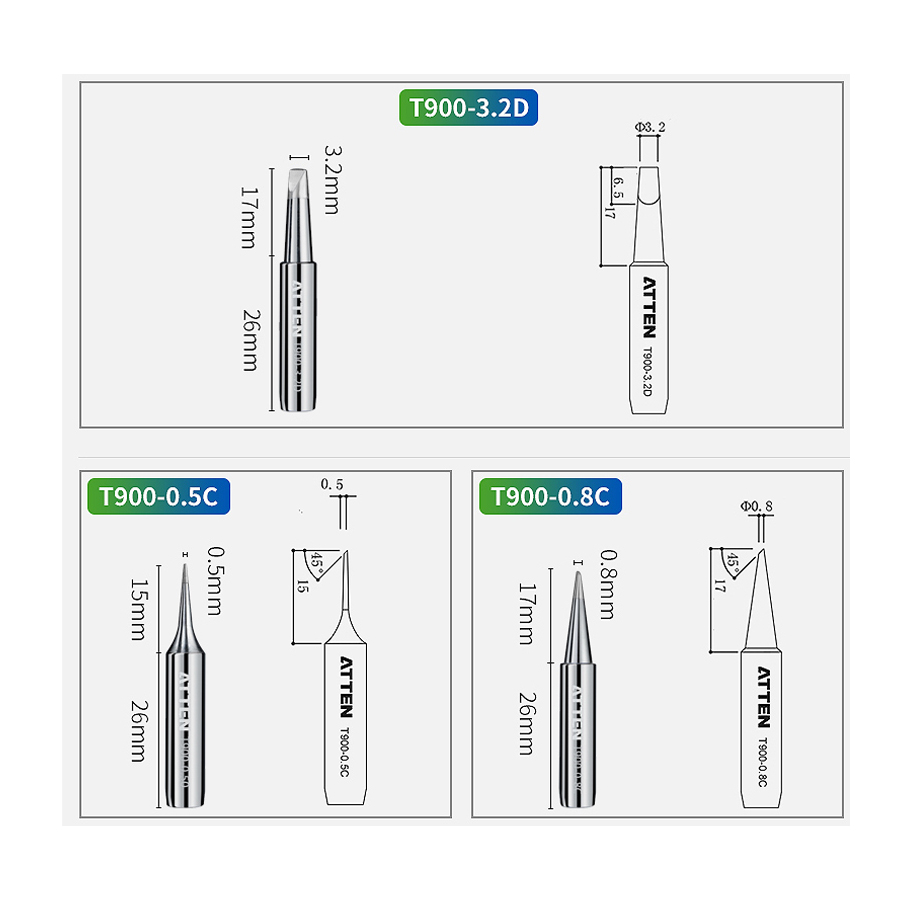 6Pcs ATTEN 900-T Soldering Iron Tips Welding Tools Solder Tips for BGA Soldering Station 3