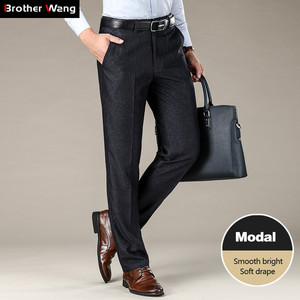 Image 1 - Classic Style Mens Straight Casual Pants 2019 New Modal Fabric Business Dark Grey Free Hot Stretch Brand Trousers