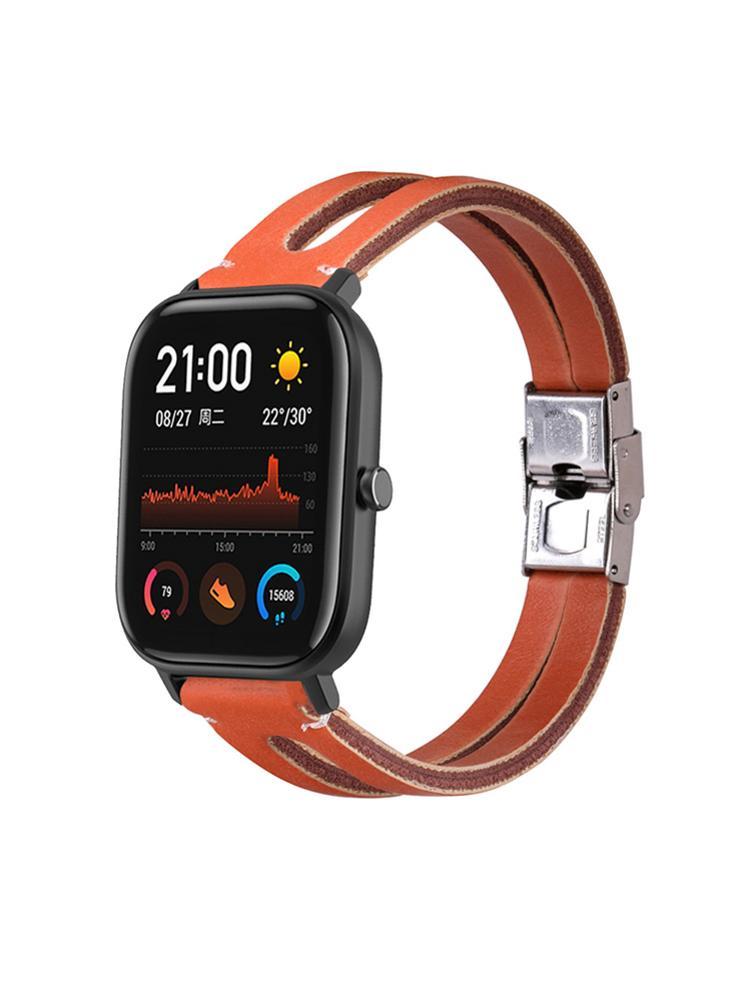 Bracelet de montre intelligente 20mm bracelet en cuir élégant pour montre intelligente pour 20mm mode universelle rétro Simple bracelet en cuir