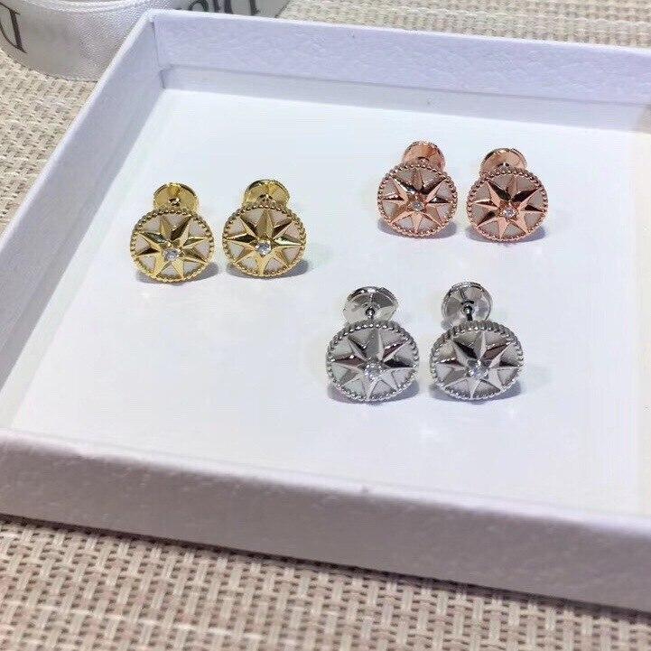Luxueux romantique boussole boucles d'oreilles étincelant huit étoiles boucle d'oreille pour femmes dames pur 925-Sterling-argent célèbre bijoux