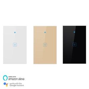 Image 2 - Wifi akıllı işık anahtarı dokunmatik cam Panel abd dikdörtgen kablosuz elektrik App uzaktan ses kontrol çalışması Alexa Google ev için