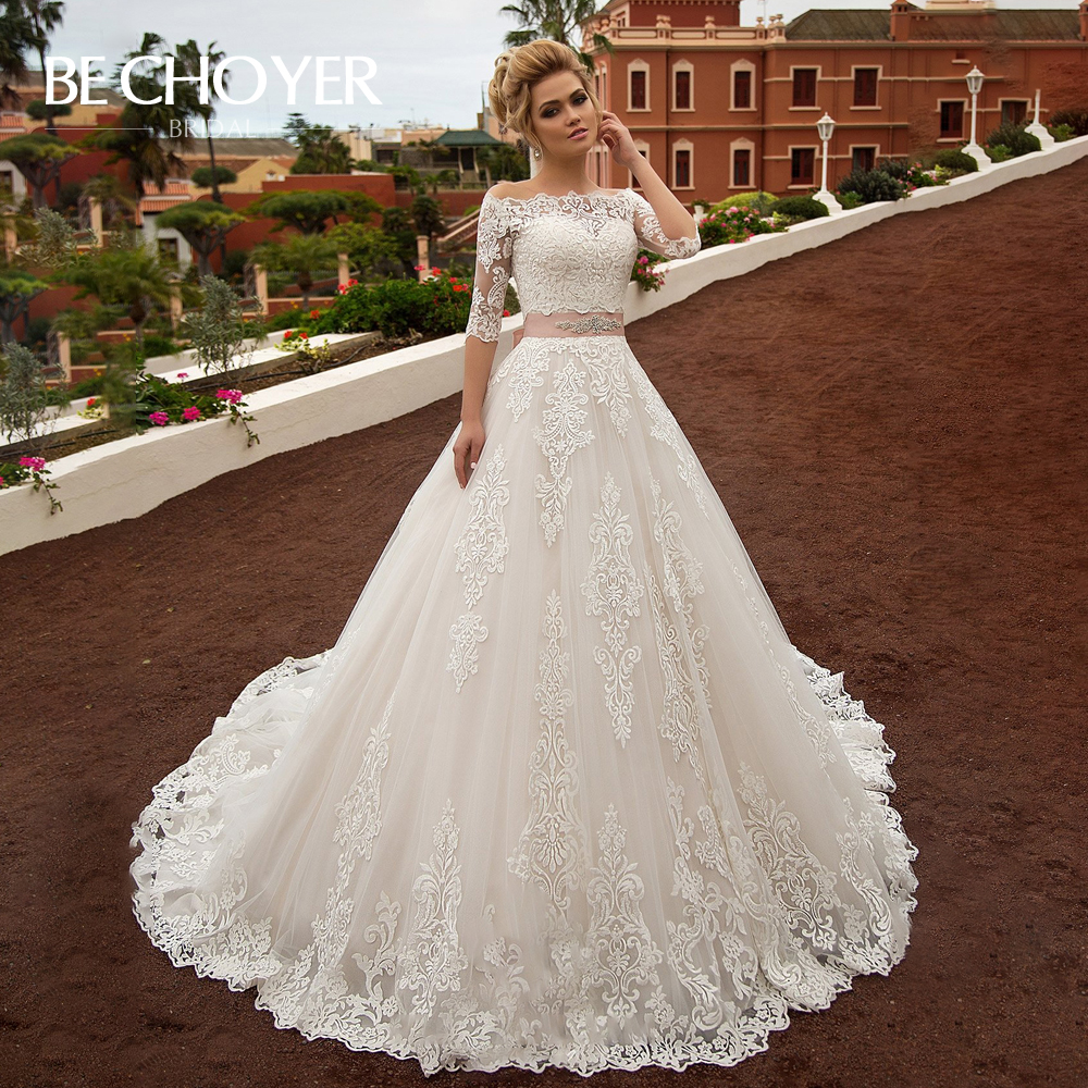 Vintage Appliques Wedding Dress BECHOYER N239 Classic 2 In 1 A-Line Princess Crystal Belt Bride Gown Customized Vestido De Noiva