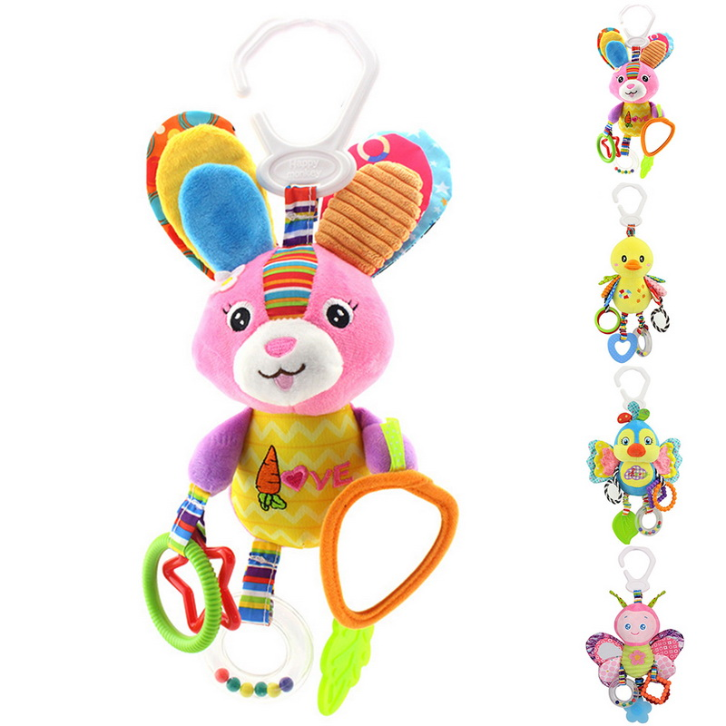 CYSINCOS Newborn Baby Stroller Hanging Toy Cute Animal Doll Bed Hanging Plush Toy Rattle Bed Bell Activity Soft Sleep Tool Toys