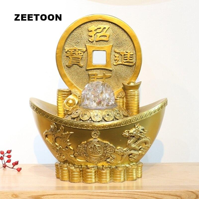 110 V/220 V or lingot fontaine d'eau résine naturelle Feng Shui boule de cristal rotation décor Waterscape maison ornement fontaine cadeaux