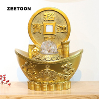 110V / 220V Gold Ingot Water Fountain Natural Resin Feng Shui Crystal Ball Rotate Decor Waterscape Home Adornment Fountain Gifts