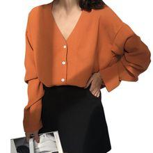 Women Blouse Long Sleeve Chiffon Blouse V-neck Button Tops  Blouses Solid Office Shirt Lady Blouse Shirt Blusas Camisa стоимость