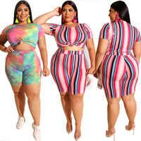 short sets for Women 2020 Plus Size Outfits Striped Two Piece Sets Conjunto Feminino 2 Piece Set Ensemble Femme Matching Sets
