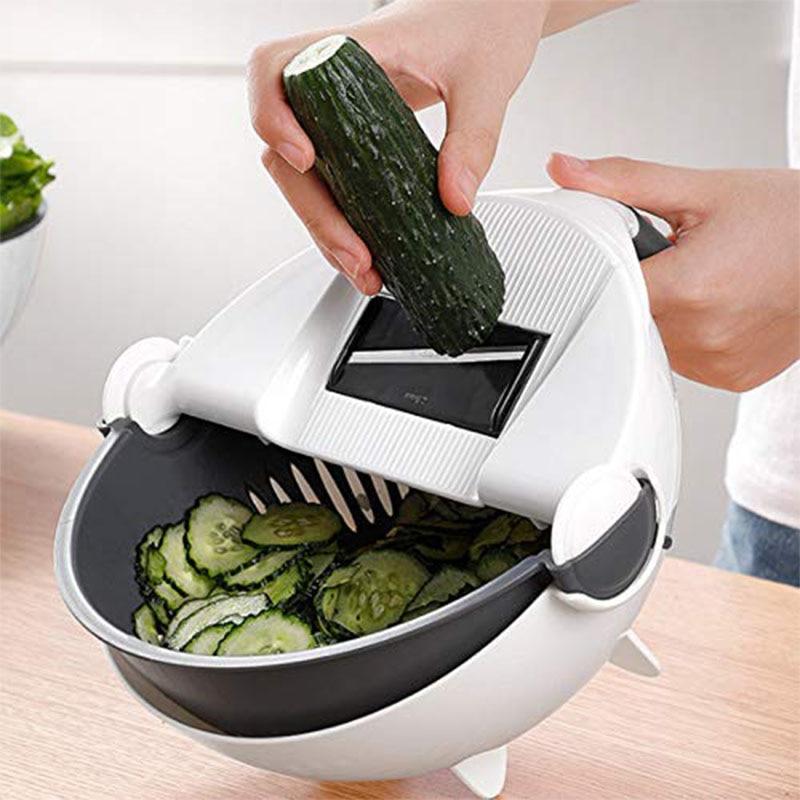 WALFOS Magic Multifunctional Rotate Vegetable Cutter With Drain Basket Kitchen Veggie Fruit Shredder Grater Slicer Drop Shipping 5