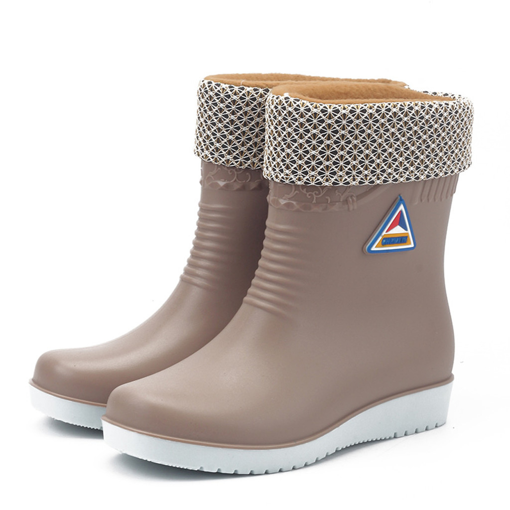 Flats Toe-Shoes Rain-Boots Non-Slip Waterproof Winter Women Warm Round Galoshes title=