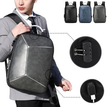 Anti-theft Leather Backpack For Men Laptop Bag Leather USB Charge Backpacks Men Laptop Package Multifunction Travel Bags #15 фото