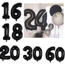 40/32 polegada preto balão número 18 20 21 26 30 40 50 festa de aniversário decoração adulto número da letra de aniversário folha balão criança