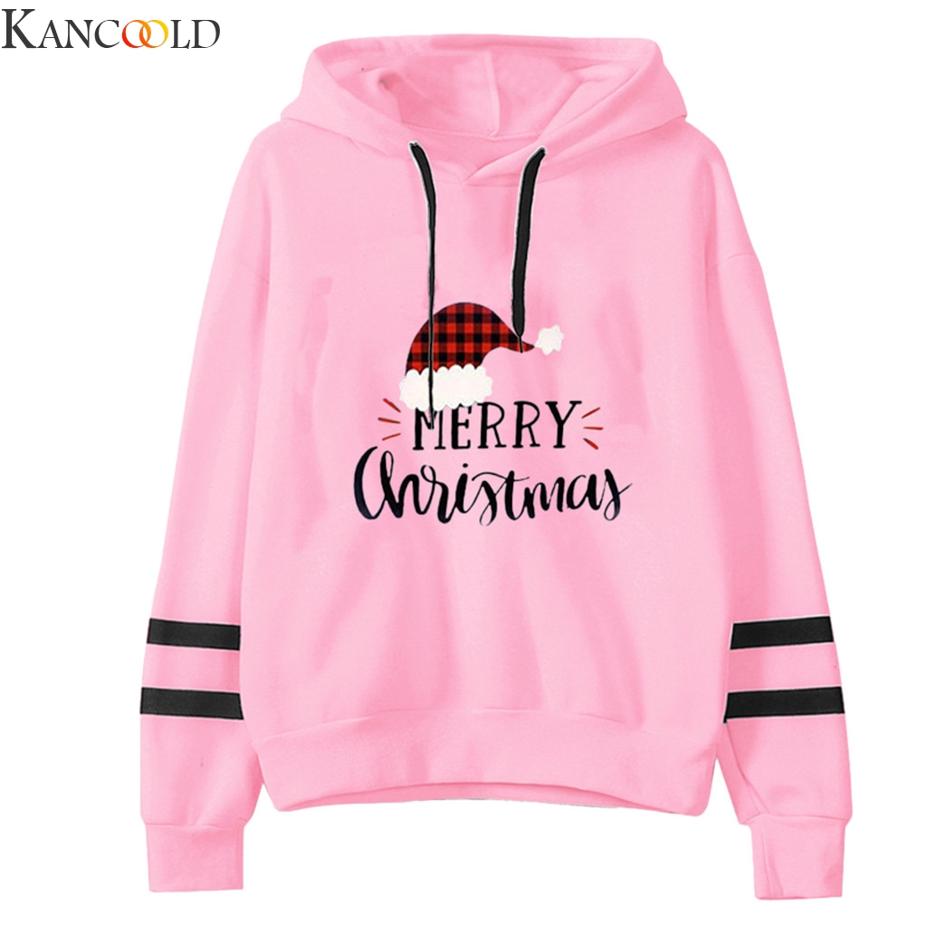 KANCOOLD Women Sweatershirt High Quality Stripe Long Sleeves Christmas Letter Print Hoodie Tops Female Pullovers Plus Size