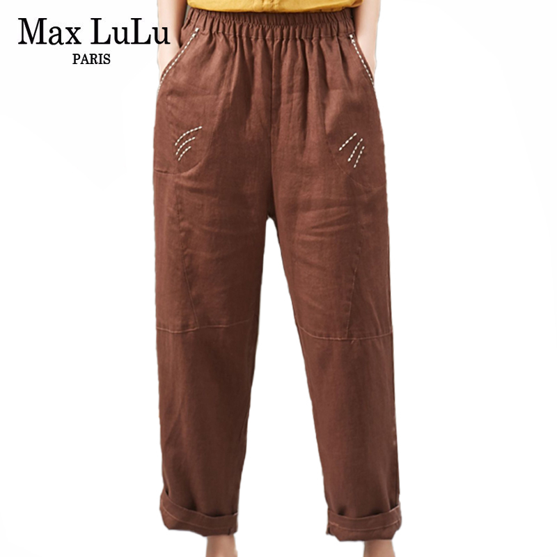 Max LuLu 2020 New Spring Fashion Ladies Vintage Cotton Trousers Womens Casual Loose Linen Pantalons Female Oversized Harem Pants